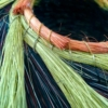 tri color nest basket with green