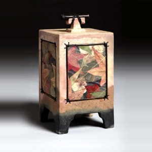 autumn leaf mixed media urn