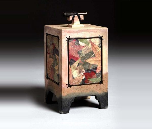 autumn leaf mixed media urn
