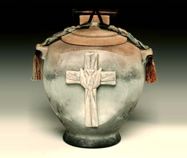 mixed media niche urn with cross