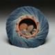 coral rimmed blue nest basket