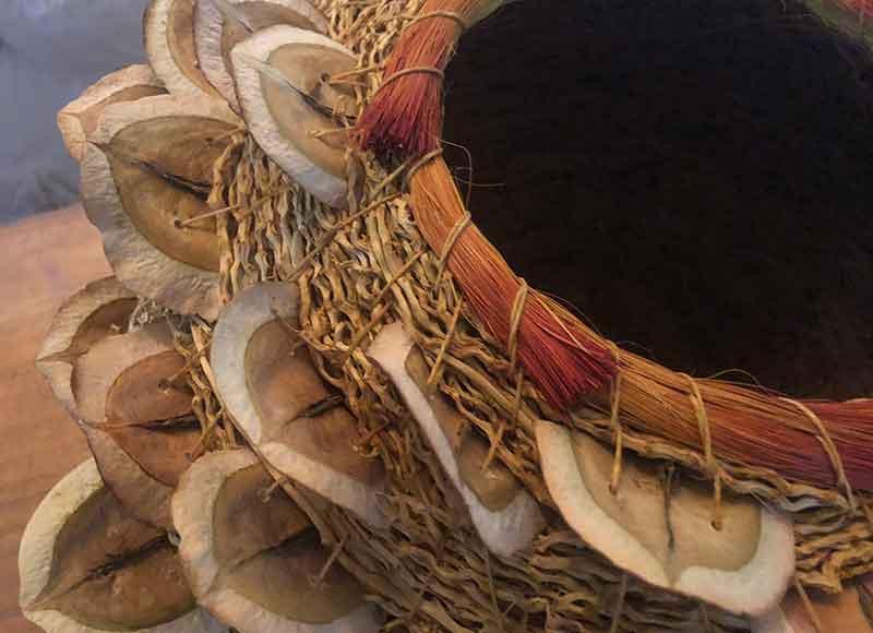 Jacaranda seed pod artisan basket