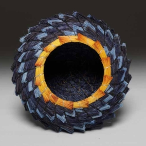 Blue and Gold Spiral Basket