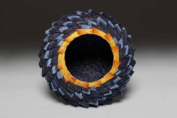 Blue and Gold Spiral Basket