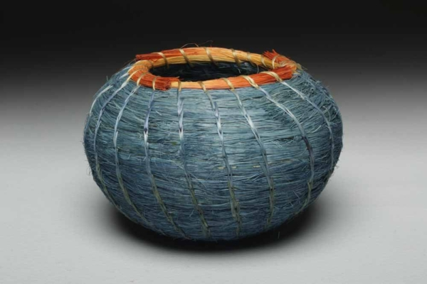 Indigo Basket with orange rim