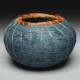 Indigo Basket with orange rim