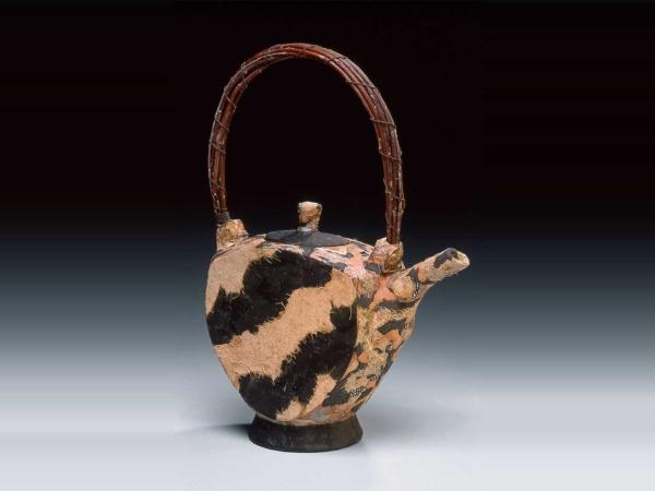 mixed media zebra ceramic teapot