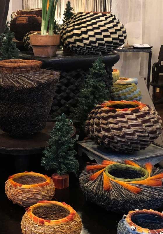 artisan baskets in retail showroom