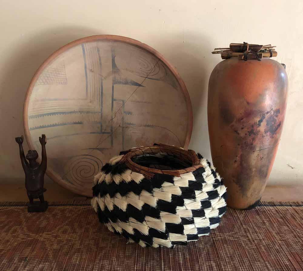artisan basket and ceramics
