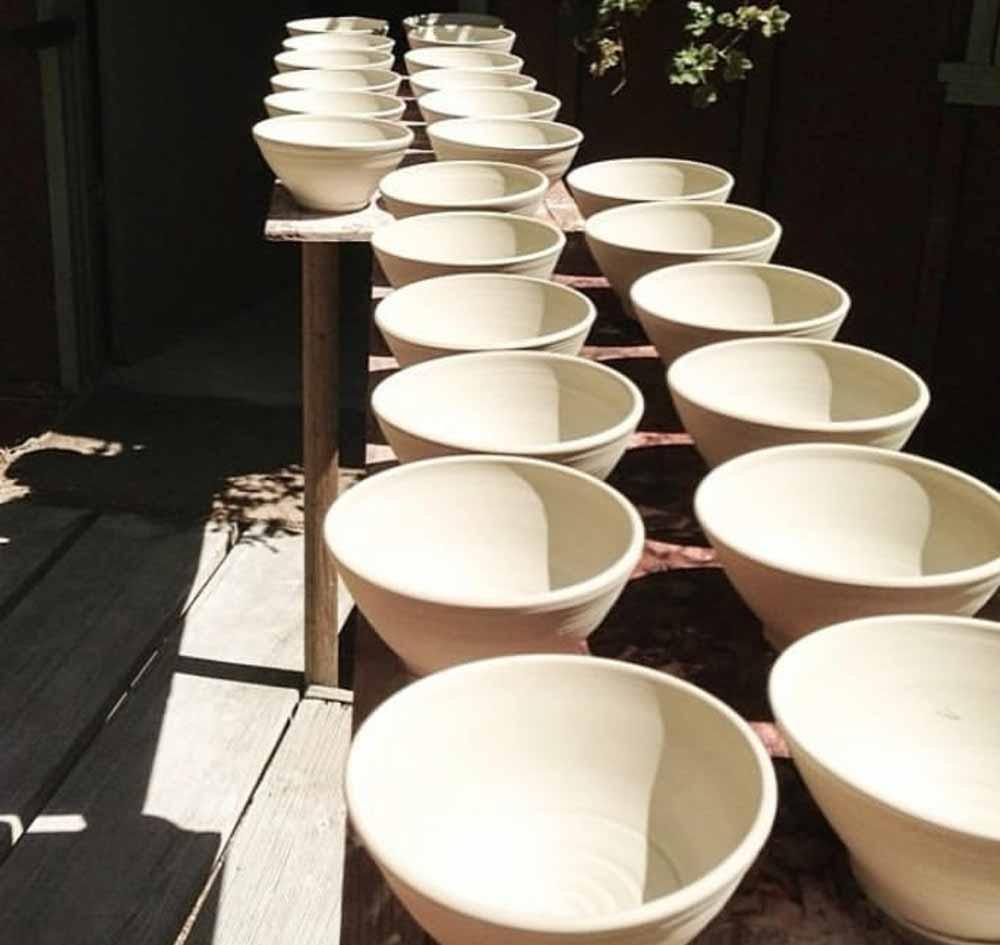 ceramic bowls ready for glazing