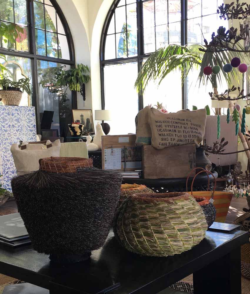 retail display of artisan baskets