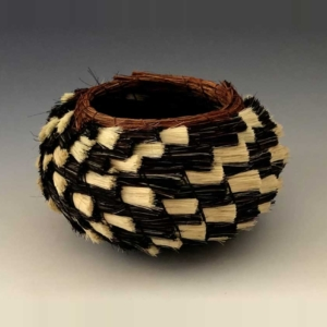 tri color zig zag basket