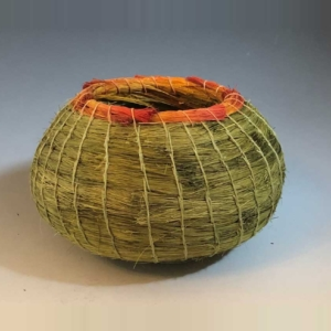 small green Lecheguilla-basket with orange rim